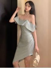 Off Shoulder Ruffled Short Sleeve Summer Dresses