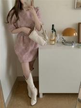 Trendy Solid Puff Short Sleeve Dress