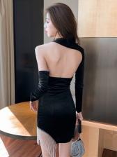 Irregular Solid Tassels Decor Long Sleeve Dress