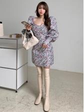 Vintage Printed Square Neck Bodycon Dress