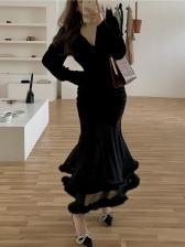 V Neck Faux Fur Patchwork Black Maxi Dress