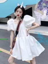 Square Neck Puff Short Sleeve Dress
