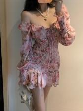 Fashion Ruched Ruffled Chiffon Long Sleeve Dress