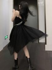 Chic Irregular Hem Gauze Patchwork Midi Dress