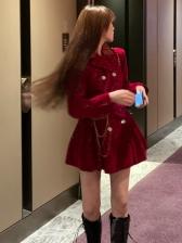 Glitter Long Sleeve With Waist Bag Ladies Dress