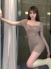 Gauze Solid Mini Long Sleeve Ruched Dress