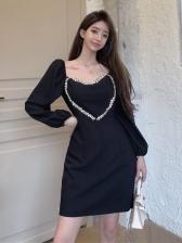 Rhinestone Decor Heart Black Long Sleeve Dress