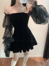 Off Shoulder Gauze Patchwork Long Sleeve Dress