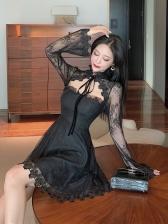 Vintage Cutout Black Long Sleeve Lace Dress
