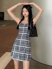 Vintage Plaid Camisole Sleeveless Dress