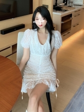 Cute Ruched White Short Sleeve Lace Dress