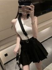 Sleeveless Tank Top Pleated 2 Piece Skirt Set