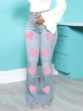 Heart Print High Waist Plus Size Casual Jeans