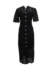 Temperament Lace Button Up Elegant Maxi Dresses