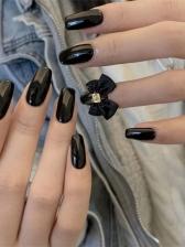 Fashion Bowknot Patchwork Black False Nail Patch