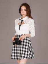 Lace Hollow Out Plaid Patchwork Long Sleeve Dress