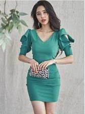 Latest Style Business Temperament Short Sleeve Bodycon Dress