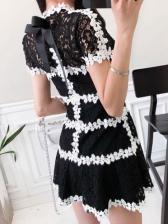 Lady Style Lace Patchwork Short Sleeve Dress