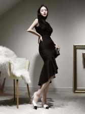 Elegant Black Skinny Sleeveless Party Dress For Ladies