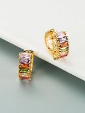 Fashion Colourful Zircon Simple Versatile Stud Earrings