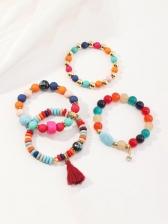 Bohemian National Tassel Beads Bracelet Sets