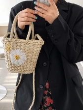 New Straw Flower Handbags For Girls