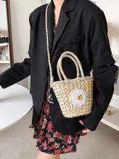 New Straw Flower Handbags For Girls