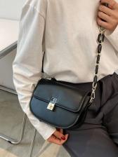 Spring Twist Lock Solid Shoulder Bags