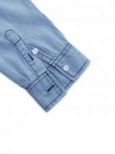 Solid Turndown Neck Buttons Masculine Denim Shirt