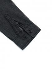 Plain Black Leisure Chest Pocket Long Sleeve Shirts