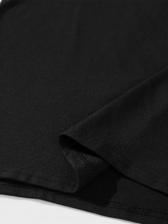 Letter Pattern Black Round Neck T Shirt