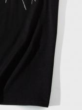 Rhinestone Print Black T Shirts For Men