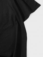 Loose Fitting Black T Shirt Printing