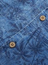 Coconut Tree Buttons Short Sleeve Blue Shirt