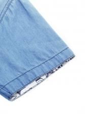 Inside Lovely Pattern Short Sleeve Denim Shirt