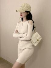 Sexy Zipper-Designed Kitting Long Sleeve Dress