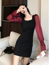 Vintage Contrast Color Square Neck Dress