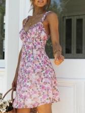 Sexy V Neck Print Floral Dress