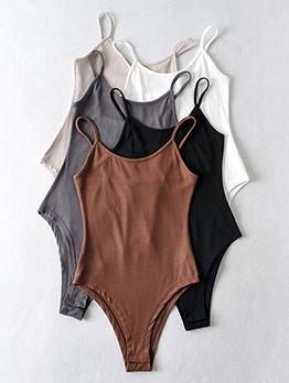 Summer U Neck Solid Bodysuit