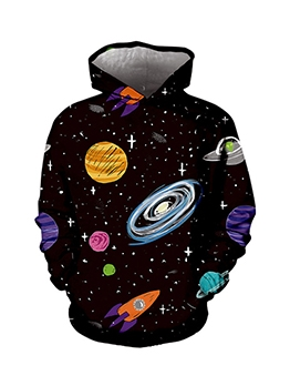 Spaceship Printed Long Sleeve Men Pullover Hoodie