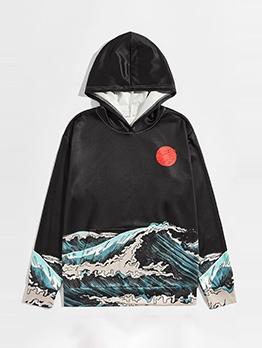 Sea Wave Printed Long Sleeve Cute Hoodies