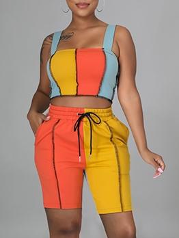 Contrast Color Patch 2 Piece Outfits