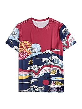 Simple Printed Contrast Color T Shirts For Men