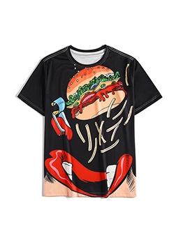 Hamburger Pattern Short Sleeve Graphic Tees Men