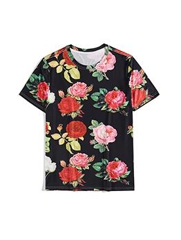 Loose Rose Printed Short Sleeve Men Tees