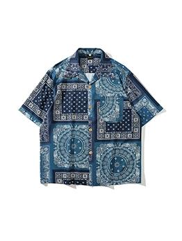 Summer Geometric Printed Short Sleeve Shirts For Men