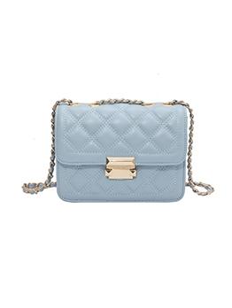 Spring Twist Lock RhombusPlaid Shoulder Bags