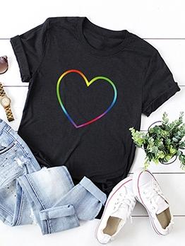 Rainbow Heart Cotton Plus Size Tee