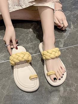 Weaving Beach Home Wear Women Flat Slippers