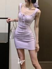 Bow Solid Sleeveless Bodycon Dress